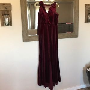 Burgundy velvet evening gown
